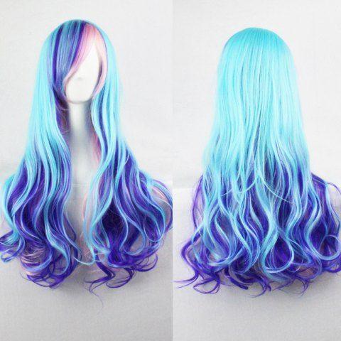 Harajuku Cosplay Lolita Style 70CM Fancy Color Shaggy Long Wavy Side Bang Attractive Costume Wig
