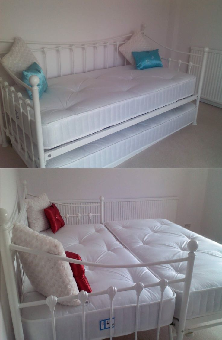 VERSAILLES GLOSSY VANILLA DAYBED, WITH UNDERBED TRUNDLE & WITH 2 3FT WHITE TUFTED MATTRESSES:…