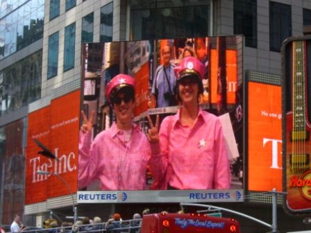 Pink Peace Officers Nancy and Dana on the big screen in Times Square, 10/07