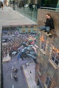 Mooi voorbeeld van een stoepkrijt artiest