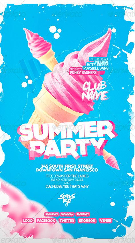 Summer Party Flyer gay night idea - repetitive print of illustrated ice cream. cutsey colours? pink and yellow?