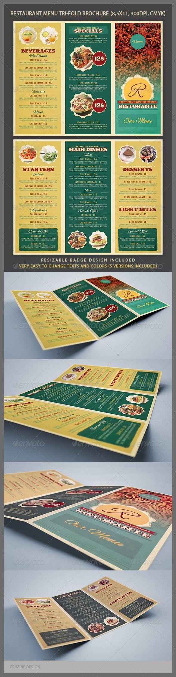 Restaurant Menu Tri-fold Brochure - GraphicRiver Item for Sale Brochure Design #Brochure Design #BrochureDesign www.iGOprinting.com