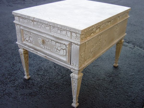 W. DC: Vintage Side Table With White/gold Crackle Finish Excellent  Condition $45