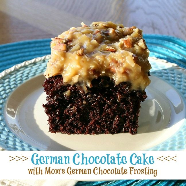 German Chocolate Cake from That's My Home Moist, delicious chocolate cake with Mom's German Chocolate Frosting full of pecans and coconut. #germanchocolatecake #cakerecipes