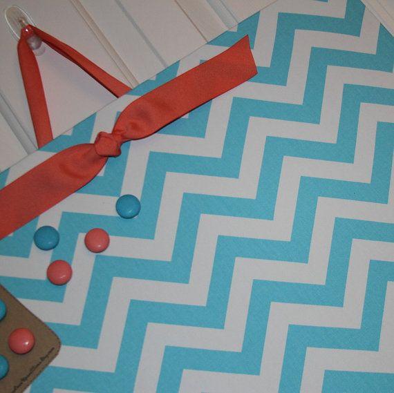 "Magnetic Board, 24"" x 18"" Fabric Magnet Board, Chevron Bulletin Board, Message board, memo board, Organization, Girl's Room, Kitchen, Office"