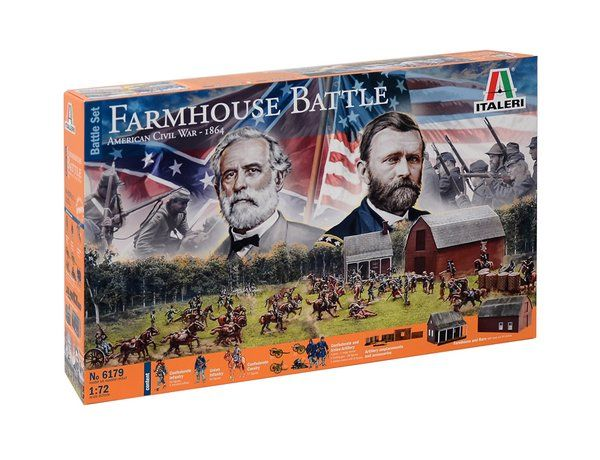 The Italeri 1/72 Civil War Farmhouse Battle from the plastic model kit range accurately recreates a real life diorama from the American Civil War. This model requires paint and glue to complete.