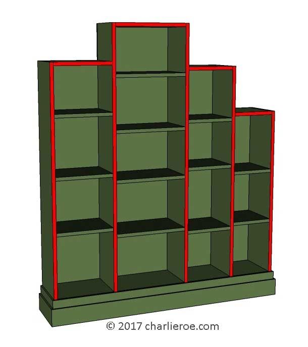 grey shelves shelving red bookcase retro floating cube dp