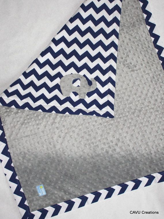 Navy Blue Chevron & Gray Minky Baby Blanket with by CAVUcreations