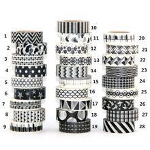 1X15mm Cinta conjunto Blanco Negro Dot, Flor, Estrella de Impresión Scrapbooking DIY Adhesivo Decorativo Enmascaramiento Japonés cinta de Papel washi Tape 0 m(China (Mainland))