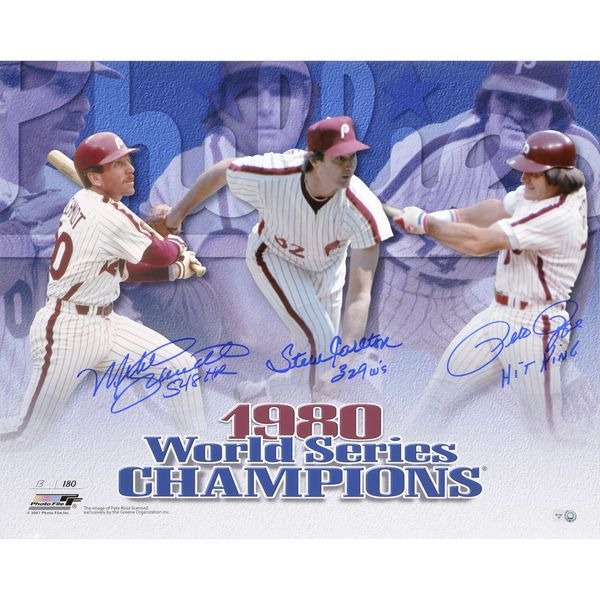 "Pete Rose, Steve Carlton, and Mike Schmidt Philadelphia Phillies Fanatics Authentic Autographed 16"" x 20"" 1980 World Series Horizontal Photograph with Multiple Inscriptions - $259.99"