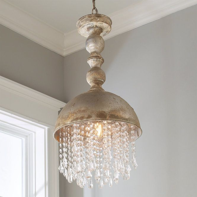 Check Out Distressed Metal Dome With Crystals Pendant From Shades