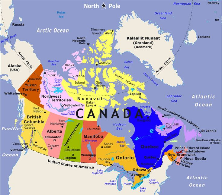 Canada map - Provinces and Territories