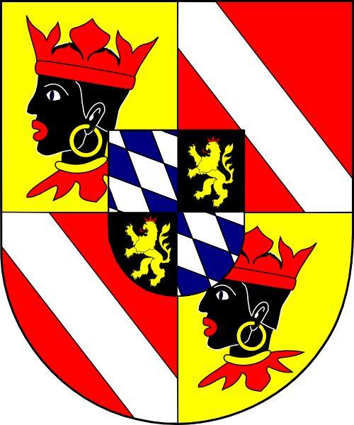 English: Coat of arms (shield only) of Sigmund Albrecht von Bayern, bishop of Freising, Germany (1651 - 1685), bishop of Regensburg, Germany (1669 - 1685).