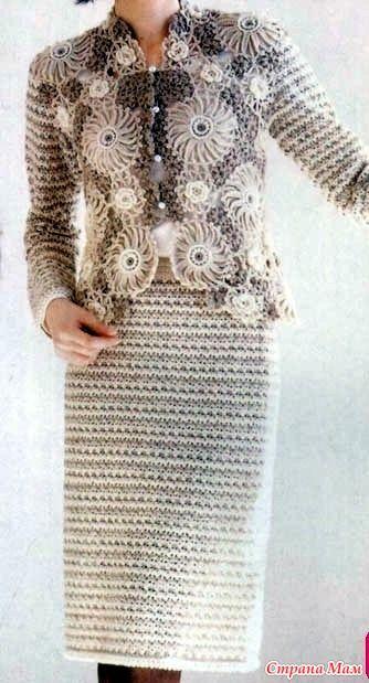 Очень красивый и оригинальный костюм. Смотрится элегантно! Полочки заката выполнены из дв цветных мотивов разной формы  http://www.liveinternet.ru/