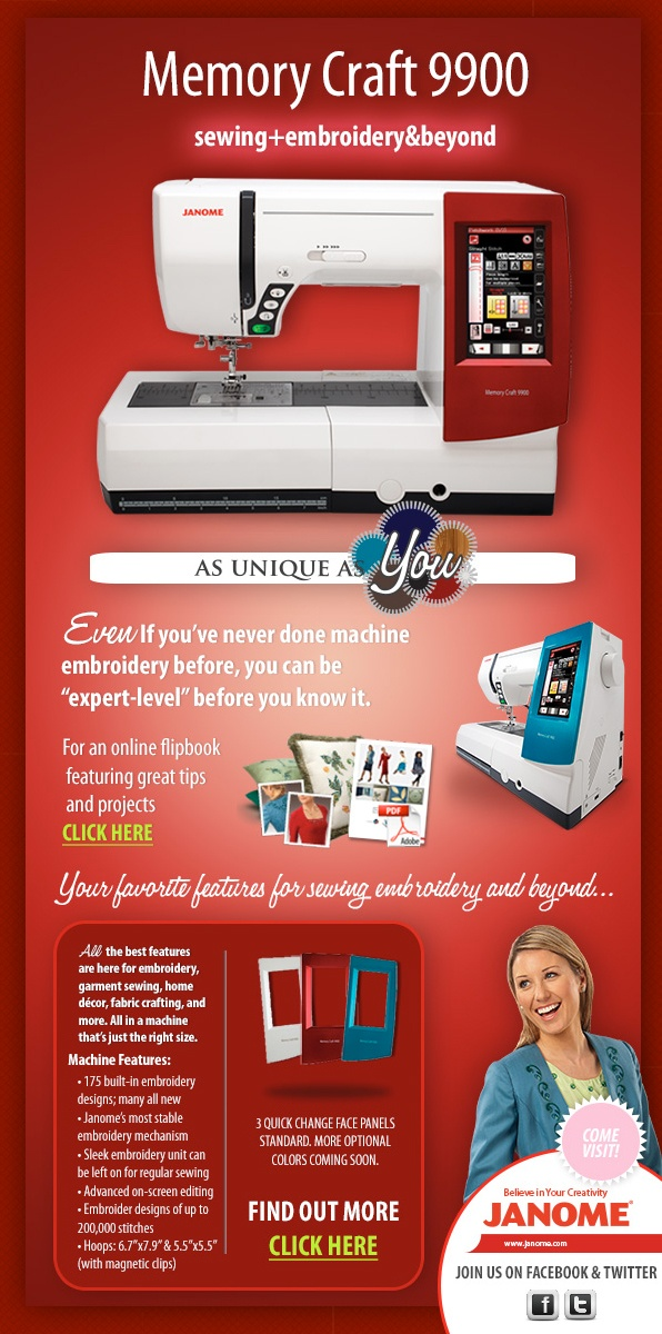 Check out the Memory Craft 9900 Sewing and Embroidery Machine from Janome.