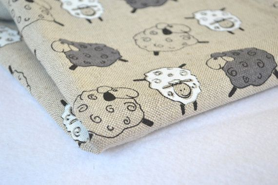 Linen sheep fabric 19,68 x 59 inch / Various prints available