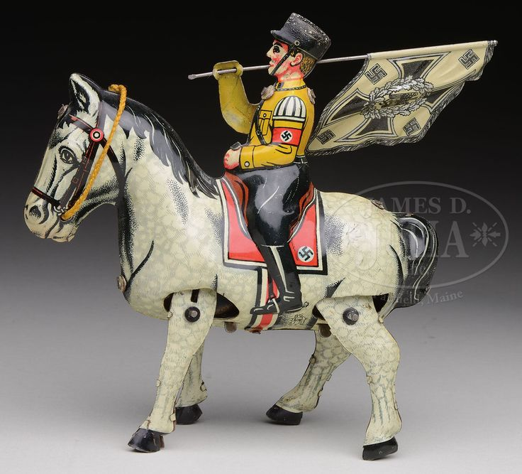 GERMAN MILITARY FIGURE ASTRIDE HORSEBACK WINDUP BY B&S.