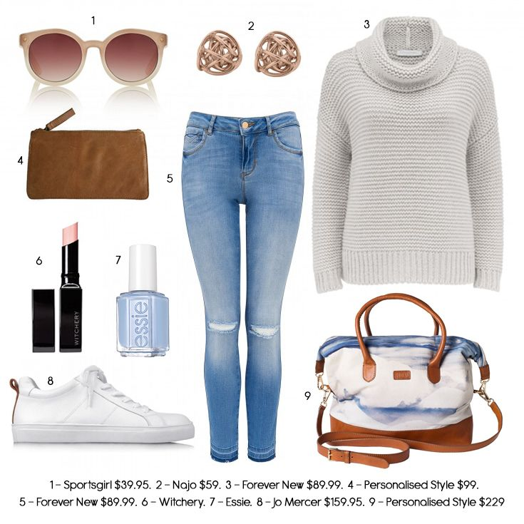 The perfect weekend outfit, overnight bag, leather purse, ripped jeans, outfit…