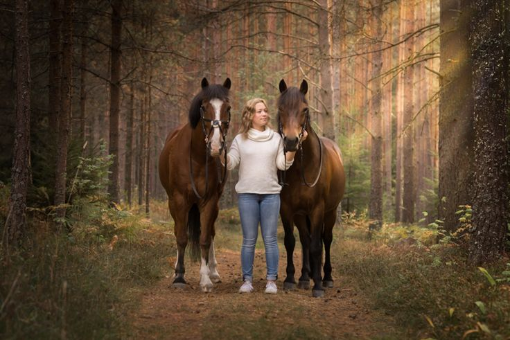 By Swedish photographer Maria Lindberg. Girl with her ponys. Horse photo. Horses in forest.
