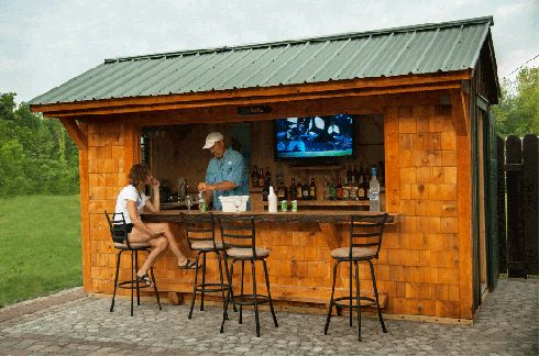 Transform your garden shed into a custom backyard bar with all of the modern bar amenities, including a TV.  Unique Garden Sheds