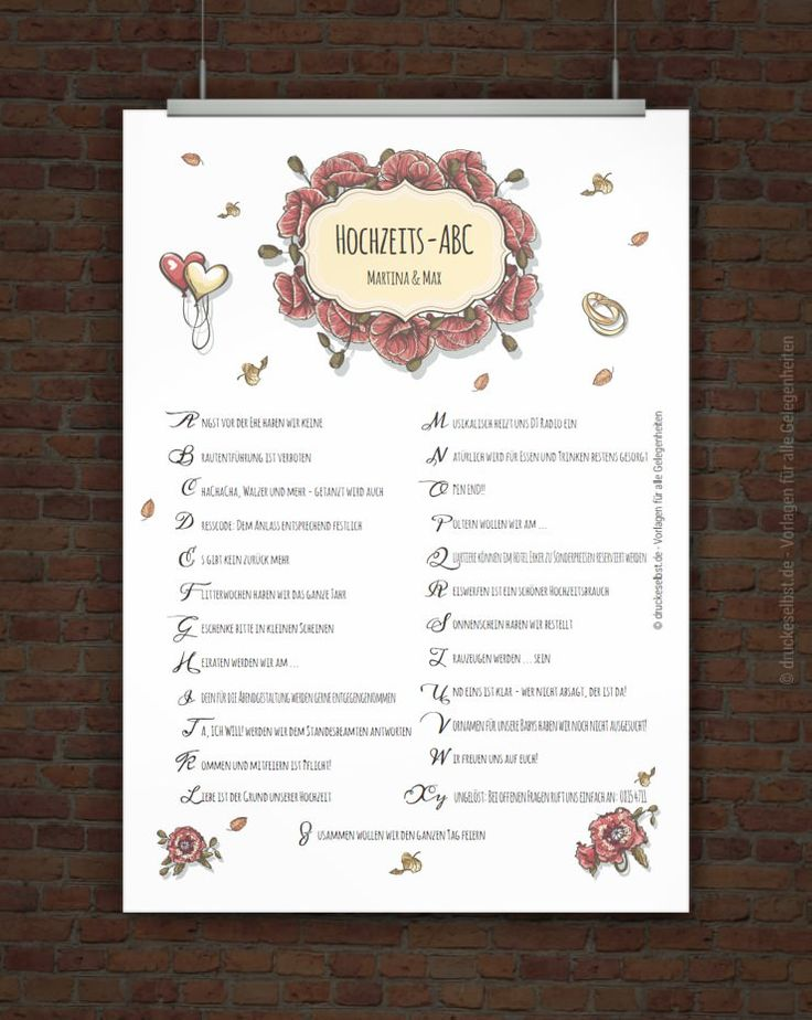 Kostenloses Hochzeits-ABC zum Ausdrucken