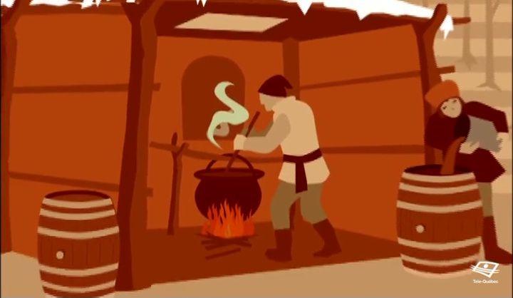 SE SUCRER LE BEC - À leur arrivée en Nouvelle-France, les colons sont initiés à la cueillette de sève d'érable par les Amérindiens. Ils en boivent pour se guérir du rhume.