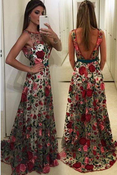 Round Neck Prom Dresses,Sleeveless Prom Dress,Unique Prom Dress,V Back Formal Gown,Flower Prom Dress,Cheap Evening Dress,2017 Prom Dress,PD00234