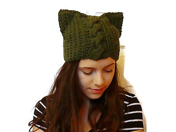 Cat ears ear cap gothic clothing cable ear beanie by HandmadeTrend