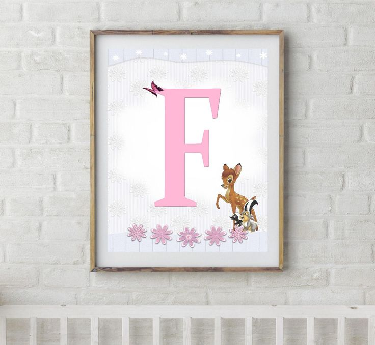 Bambi, Bambi Letters, Letter F, Alphabet Letter F, Bambi Nursery, Baby Initial, Initial Print, Woodland Letter F, Disney Nursery Prints