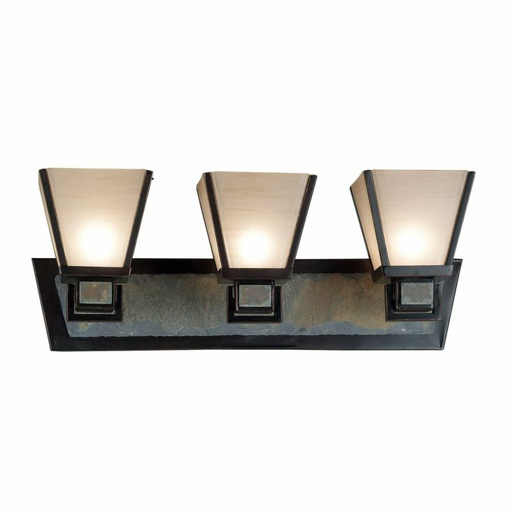 Bathroom Light with Art Glass in Oil Rubbed Bronze Finish Bathroom lighting, Home and Bronze ...