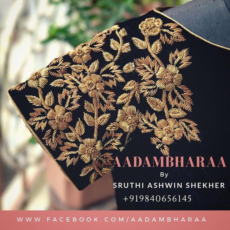 Bespoke blouses and hand embroidered classics at +919840656145 #aadambharaa #indianethnic #blouseoftheday #designerblouses #handembroidered #floraldesign #designerwear #blackisbeautiful #indianwedding #southindianbride #instapost #instagood #designerlove #aadambharaachennai