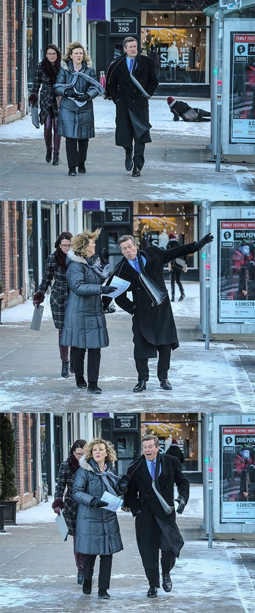#ICYMI, it's icy outside. Toronto Mayor John Tory slipped on the sidewalk Monday morning, just before a press conference.