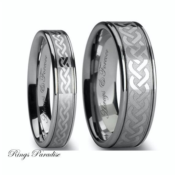 Tungsten Wedding Bands Set Celtic Celtic Ring by RingsParadise
