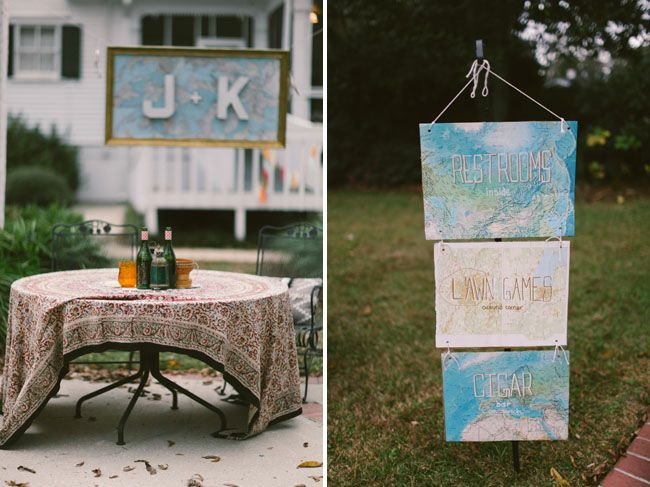 i love the hanging sign idea! we could watercolor some white foam different colors with arrows pointing to different events.