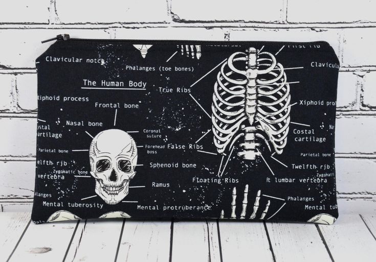 Glow in the Dark Skeleton Pencil Case Mini Makeup Bag School Supplies Skull Pencil Bag Goth Bag (13.00 USD) by TheCuriousNeedle