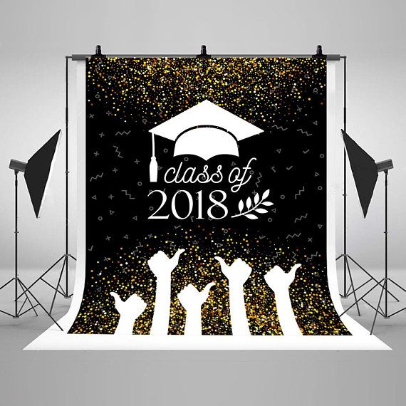 Graduation Class of 2019 Banner Golden Black Photography Backdrops Hat and Thumbs Up Photo Backgrounds for Student Studio Props