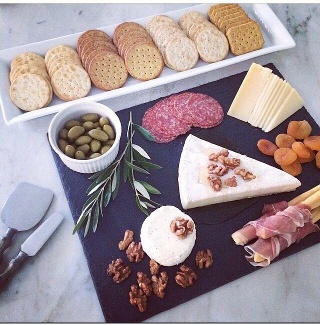 Pretty cheese plate presentation