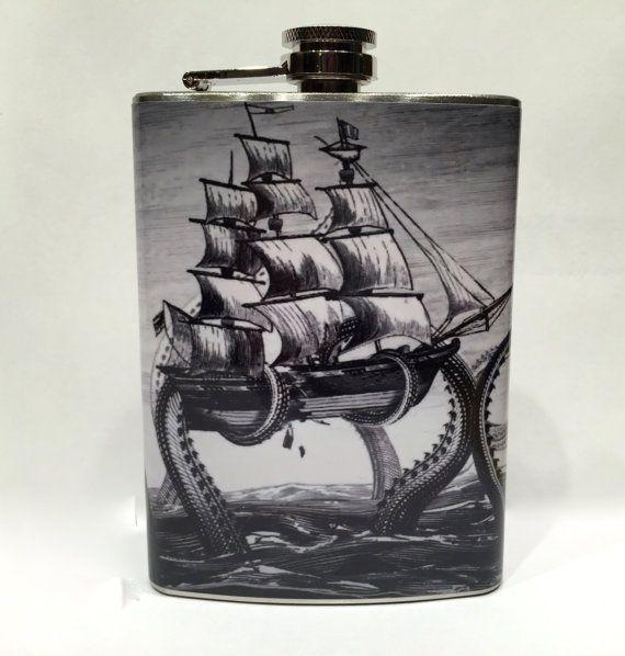 Kraken Vintage Print Stainless Steel 8oz Hip Flask Nautical Pirate Ship Octopus