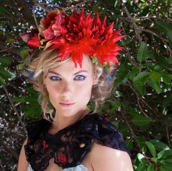 Red Dahlia Flower Crown  Flower Headband  Flower by katieburley, $200.00
