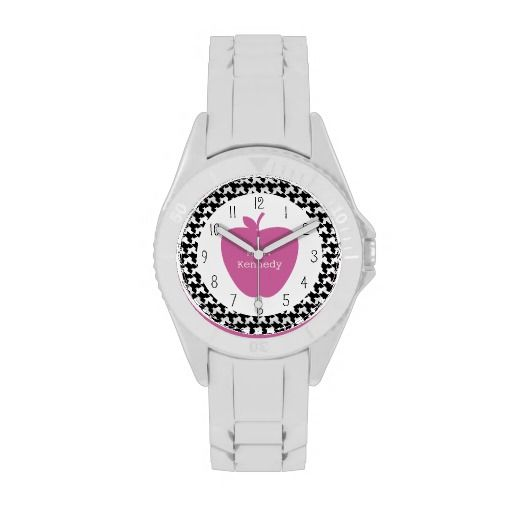 Pink Apple Houndstooth Teacher Watch from The Pink Schoolhouse
