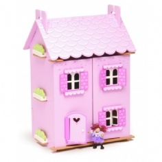 Cute, pink, and furnished. Love this quality dollhouse.