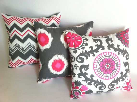 set of 3 decorative throw pillow covers flamingo pink and gray 18x18 inches ikat missoni chevron
