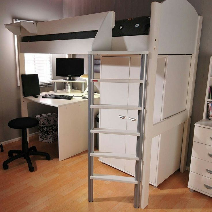 Stompa Combo Kids White Highsleeper Bed With Desk And Wardrobe