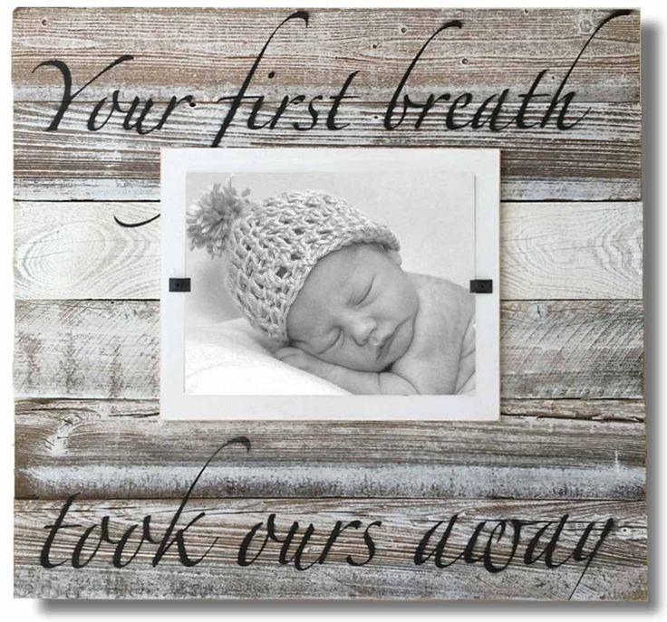 """Reclaimed Wood Frame, """"Your first breath took ours away"""" (X-Large 22 x 22)"""