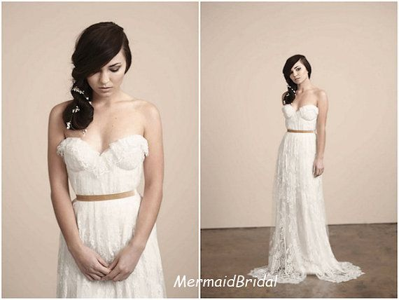 Romantic aline lace wedding dress wedding gown by for Simple romantic wedding dresses