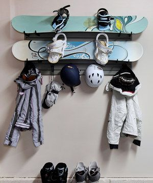 Gearheads might own their weight in equipment, but those without space to match can make use of this efficient organizer. The modular panels turn any wall into a customizable organizing canvas using a patented ''click and stick'' friction-locking system that keeps hooks in place. In this set, there are hangers designed specifically for snowboards plus hooks for jackets and gear.
