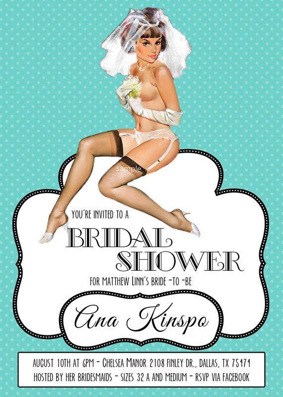 Vintage Pin Up Girl Invitation- Bachelorette party, Hens night, Lingerie Shower…