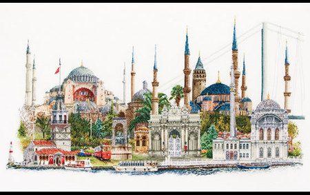 Thea Gouverneur Istanbul - Cross Stitch Kit. This stunning design of Istanbul, Turkey features Hagia Sophia, Topkapi Sarayi, the Blue Mosque, Byzantine Hippodro