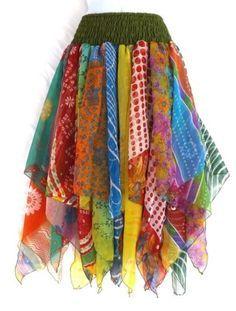 Gypsy-Fairy-Pixie-Belly-Dance-Costume-Vintage-Chiffon-Handkerchief-Scarf-Skirt