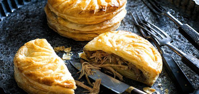Pithiviers are French pies made my baking two disks of puff pastry together with filling stuffed in between. Our version uses a delicious duck & potato filling.